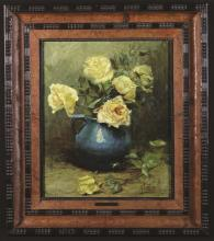 Alexander Tielens (1868-1959). Oil on Canvas; Still Life of a blue jug of yellow roses, signed A. Tielens bottom right, 18½ ins x 15 ins (47 cm x 38 cms), in a moulded frame 25½ ins x 22½ ins (65 cm x 57 cms).