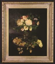 Jules Ragot (1835-1912) Attributed. An Oil on Panel; Still Life with Flowers and Grapes, 25 ins x 20½ ins (64 cms x 52 cms), in a decorative gilt frame 31 ins x 26½ ins (79 cm x 67 cms).