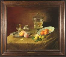 Jef van de Roye (1861-1949). Oil on Panel; Still life of Oranges and Lemons dated 1895 , 29 ins x 35½ ins (74 cm x 90 cms), in a moulded oak frame 37 ins x 43 ins (94 cms x 109 cms).