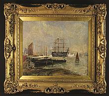 William Buxton Knight (1843-1908). An Impressionist Oil on Canvas: Boats on Harbour, signed in black bottom left, 25 ins x 30¼ ins (64 cm x 77 cms), in a heavy swept gilt frame adorned with sprays of flowers and open carved shell crests on deep cross-hatched moulding, 39¼ ins x 44½ ins (100 cms x 113 cms).