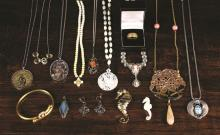 A Collection of Costume Jewellery to include an 18 carat gold ring decorated with an engraved band of oak leaves, a filigree necklace with cameo pendant, etc.