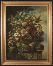 A Large & Impressive Oil on Canvas: Still Life depicting an urn cascading flowers on a classical plinth laden in fruit with a bird either side (relined), 49 ins x 37½ ins (125 cm x 95 cms), in a decorative modern gilt frame, 57 ins x 45 ins (145 cms x 114 cms).