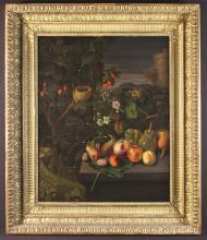 Flemish School. An 18th Century Oil on Canvas: Still Life with bird's nest, wild flowers and fruit in landscape, 31 ins x 25½ ins (79 cms x 65 cms), in a decorative gilt frame 41 ins x 35 ins (104 cm x89 cms).