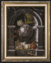 A 19th Century Verre Eglomise Panel: Still Life Painting of a decorative urn of flowers set in an arched marble niche; the plinth laden with peaches, grapes and cherries, 26¼ ins x 20 ins (66.5 cm x 51 cms). Contained in a simulated marble and giltwood frame 31½ ins x 25½ ins (80 cm x 65 cms).