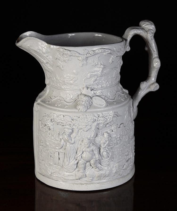 A Large 19th Century Saltglazed Pale Grey
