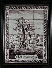 A Charming 18th Century Glazed Manganese Panel