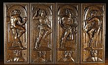 A Fine Set of Four 16th Century Oak Panels; each