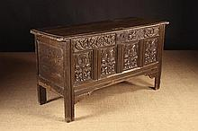 A Fine 17th Century Oak Coffer. The edge moulded