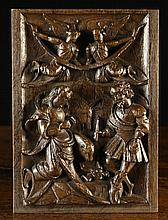 A Fine 16th Century Relief Carved Oak Panel
