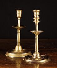 Two Similar Late 16th Century Brass Candlesticks