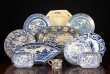 A Collection of 19th Century Blue and White Transfer Printed Ceramics and a Cream-ware Dish, probably Leeds (A/F).