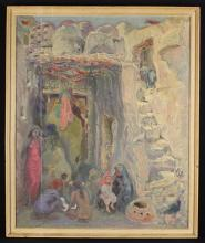 Arthur Holm (German, 1890-1946). An Oil on Canvas: Egyptian Street Scene with Figures. The stretcher inscribed in pencil with title; 'Harem of the Sheikh Ali, Upper Egypt' and 'Arthur Holm Northhampton 108, Park Avenue North', 30 ins x 25 ins (76 cm x 64 cms). Set in a painted frame. [possibly subject to 4% ARR]