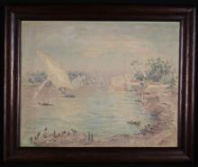 Arthur Holm (German, 1890-1946). An Oil on Canvas: Egyptian Landscape with Dhows sailing on the Nile, signed 'Holm' bottom left. The stretcher inscribed in pencil with title; 'The Nile Miada' and 'Arthur Holm Northhampton 108, Park Avenue North', 24 ins x 30 ins (61cm x 76 cms). Set in a moulded rosewood frame. [possibly subject to 4% ARR]