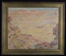Arthur Holm (German 1890-1946). An Oil on Canvas;  Desert Landscape in rosy light, signed 'Holm' bottom left, 20½ ins x 25 ins (52 cm x 63.5 cms). Set in a moulded gilt frame. [possibly subject to 4% ARR]