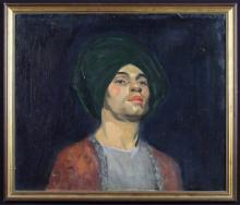 Four Framed Oil Paintings: An oil on canvas; head & shoulders portrait of of Rudolph Nureyev, 20 ins x 23¾ ins (52 cms x 60 cms). An oil on canvas; a river landscape signed Norman M Macdougall, 16½ ins x 24 ins (42 cms x 61 cms). An oil on canvas Lakeland scene signed Gordon Lindery, 20 ins x 30 ins (51 cm x 76 cms). An oil on board  depicting a waterside cottage with boat moored alongside signed McNeill, 15½ ins x 19½ ins (39 cms x 50 cms).