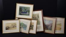 Seven Framed Pictures to include six watercolours; a Swiss mountain scene, signed and dated 1895, 10½ ins x 13½ ins (26 cm x 34 cms). A signed city scene of river side promenade 8¼ ins x 10¾ ins (21 cms x 27 cms). A steamer in estuary initialed WGK, 7 ins x 11½ ins (18 cms x 29 cms). A lakeside cottage signed J. Muir 8¼ ins x 11 ins (21 cm x 28 cms). Woodland cottages signed Crosbie 9 ins x 11 ins (23 cms x 28 cms). A beach scene signed WS Roberson 10¼ ins x 14½ ins (26 cms x 37 cms), and a print.