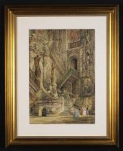 Thomas Cowlishaw (British). A Watercolour & Gouache Painting of Burgos Cathedral - Spain with lavishly detailed decoration. 22 ins x 15 ins (56 cm  x 38 cms). Set in a glazed gilt frame, 32½ ins x 26 ins (82.5 cm x 66 cms).