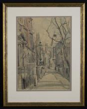 Amy Joseph. An Ink & Watercolour Drawing of London Street Scene, signed bottom right, 14¾ ins x 10½ ins (37.5 cms x 27 cms), mounted in a glazed gilt frame 21 ins x 16½ ins (53 cms x 42 cms).