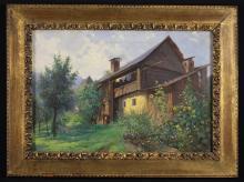 An Oil On Canvas: Landscape with Chalet, the stretcher inscribed Otakar Lebada, 14 ins x 20¾ ins (36 cm x 53 cms), in a decorative gilt frame 19 ins x 25½ ins (48 cm x 65 cms).