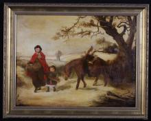 Attributed to Edward Robert Smythe (1810-1899). A 19th Century Oil on Panel depicting a Woman and Child with Horse walking through a winter landscape, signed E.R. Smythe indistinctly bottom left, 16 ins x 21 ins (41 cm x 53 cms) in a later gilt frame, 20 ins x 24¾ ins (51 cms x 63 cms).