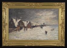 Edward Seago (1910-1974). An Oil on Canvas: Winter Scene with figures in snow, signed bottom right, 14 ins x 22 ins (36 cm x 56 cms), in a decorative gilt frame 19 ins x 27 ins (48 cm x 68 cms).