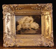 Thomas Sidney Cooper, R.A. (1803-1902). A Small Oil Sketch on Board depicting a wheel barrow of fleeces, inscribed along the base of the barrow 'T.S. Cooper 1840 of nature' and having a red wax seal to the verso, 5½ ins x 7½ ins (14 cms x 19 cms). Set in a deep moulded gilt frame with shell crested corners adorned with sprays of flowers and foliage, 11 ins x 13 ins (28 cms x 33 cms).