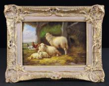 A Small Gilt Framed Oil on Panel depicting sheep in a barn, signed bottom right H. Wets. 6½ ins x 9½ ins (16.5 cm x 24 cms). The swept gilt frame carved with shell crested corners and sprays of foliage. 10½ ins x 13½ ins (27 cm x 34.5 cms). [possibly subject to 4% ARR]