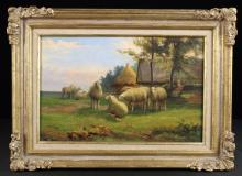 Jef Louis van Leemputten (1865-1948). A Small Oil on Canvas depicting a flock of sheep in a landscape, signed bottom right J.L. Van Leemputten, 10 ins x 15 ins (25.5 cm x 38 cms), set in a moulded gilt wood frame with sprays of flowers and foliage carved to the corners, 14 ins x 19 ins ( 35.5 cm x 48 cms). [possibly subject to 4% ARR]