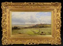 Alfred Walter Williams (1824-1905) A 19th Century Oil on Canvas in a gilt frame, rural landscape with farm workers, initialled bottom left AWW and dated 1875, 9 ins x 15 ins (23 cm x 38 cms). The carved giltwood frame adorned with scrolls of foliage and inscribed  'A.W. Williams RBA', 15 ins x 21 ins (38 cms x 53 cms).