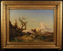 Belgium School. An Oil on Canvas Circa 1820: Landscape with cattle resting on river bank, 29 ins x 39½ ins (74 cms x 100 cms). Set in a decorative moulded gilt frame 42½ ins x 53 ins (108 cm x 135 cms).