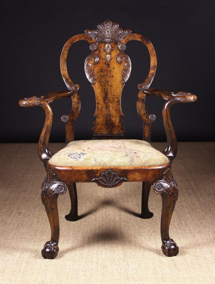 A Fabulous Queen Anne Style Carved Walnut Armchair The Shap