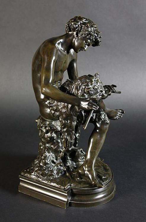 Claudius Marioton 1844-1919. A Bronze of a seated