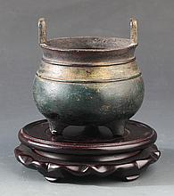 A DOUBLE EAR ROUND  BRONZE CENSER