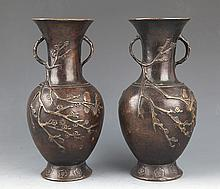 A PAIR OF FINELY CARVED BRONZE BOTTLE