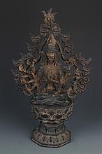 A FINE AND DETAILED CARVED BRONZE BUDDHA FIGURE