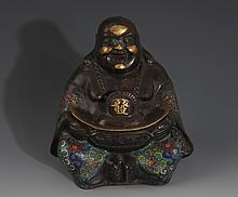 A FINELY CARVED COLORED BRONZE MAITREYA BUDDHA