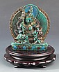 A TURQUOISE FIGURE OF CHINESE GOD OF WEALTH