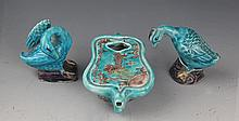 A GROUP OF THREE BLUE COLOR PORCELAIN WRITING SET