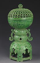 A FINE GREEN COLOR PORCELAIN AROMATHERAPY