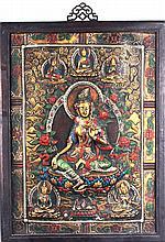 A GILT BRONZE TIBETAN THE TRUNK GOD OF WEALTH