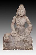 A LARGE STONE BUDDHA FIGURE