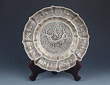 A FINELY DRAGON CARVING SILVER PLATED PLATE