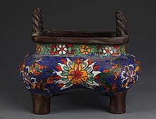 A TWO HANDLE CLOISONNÉ ENAMEL BRONZE CENSER