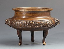 A RARE AND CARVED TRIPOD BRONZE CENSER