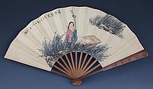 A WANG SU BAMBOO FAN (ATTRIBUTED TO, 1794 - 1877)