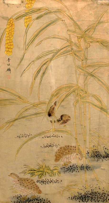 A FINE CHINESE PAINTING ATTRIBUTED TO LI GONG QI