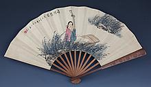 A FINELY PAINTED CHINESE FAN, ATTRIBUTED TO WANG SU