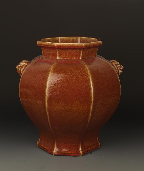 A FINE RED COLOR LANG YAO EIGHT SIDE JAR