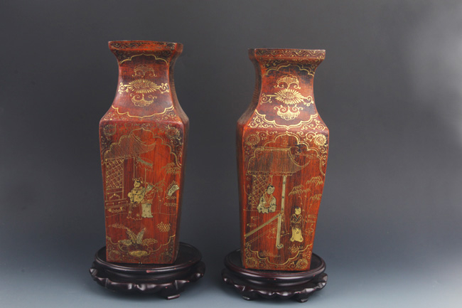 PAIR OF GILT LACQUERED FLOWER PAINTED VASE