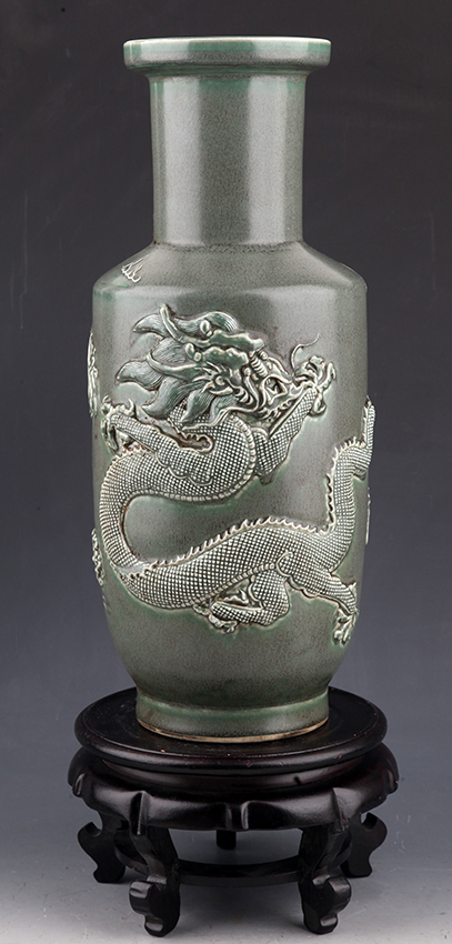 TALL DRAGON CARVED PORCELAIN VASE